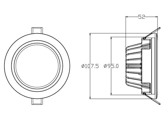 3寸防水LED筒灯尺寸